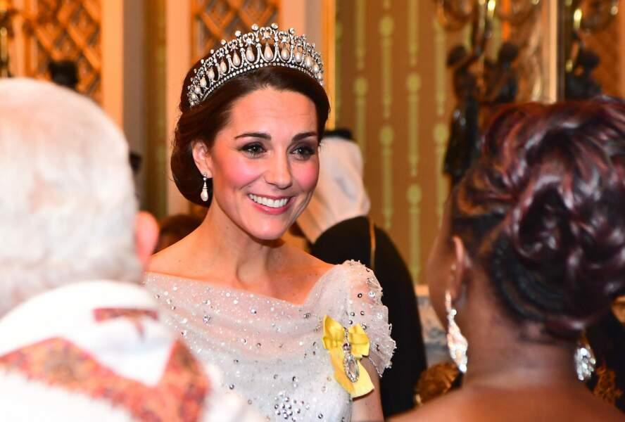 Kate Middleton lors d'une réception à Buckingham Palace, décembre 2018