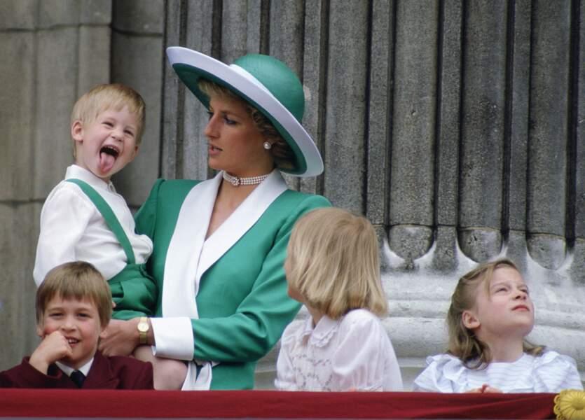 Diana et Harry à la cérémonie Trooping The Colour, en 1988