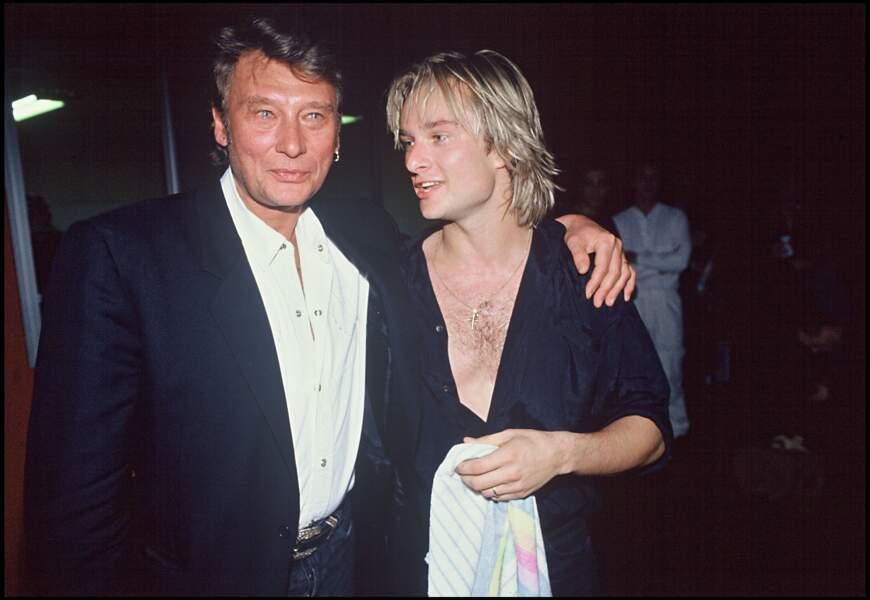 Johnny et David Hallyday sur la tournée de David en 1991