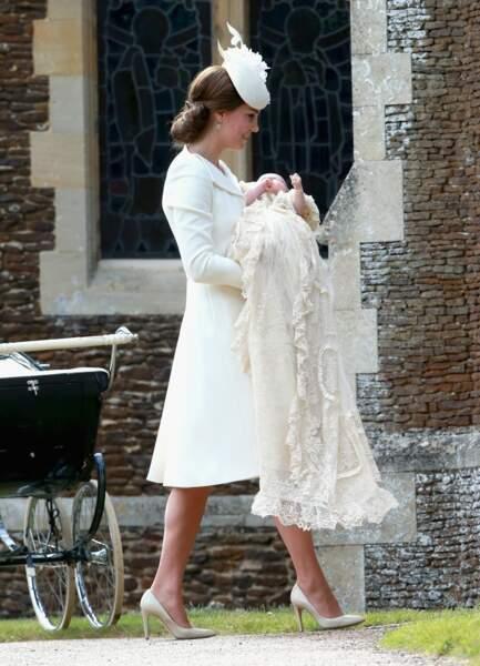Kate Middelton lors du baptême de la princesse Charlotte, le 5 juillet 2015