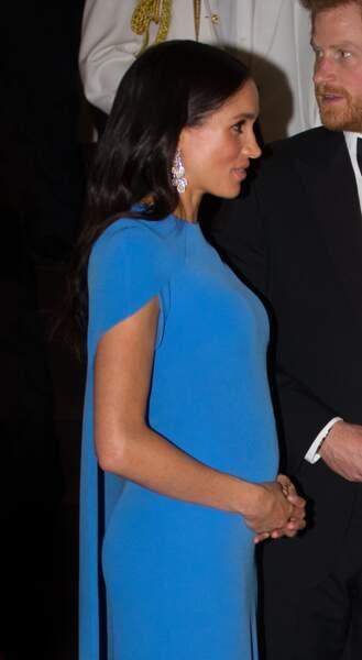 Le prince Harry et Meghan Markle, au dîner d'Etat donné en leur honneur à Suva, aux Îles Fidji, le 23 octobre 2018