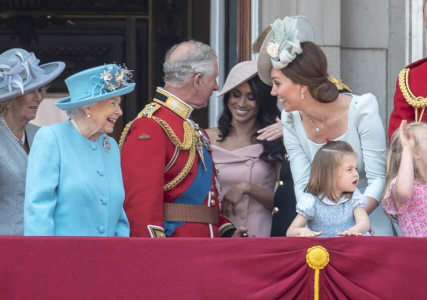 """Charles, Meghan et la famille royale d'Angleterre assistent à la parade """"Trooping the Colour"""", le 9 juin 2018"""