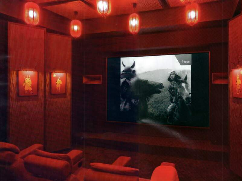 Salle cinéma de la maison de Johnny et Laeticia Hallyday dans leur maison de Saint Barthélémy