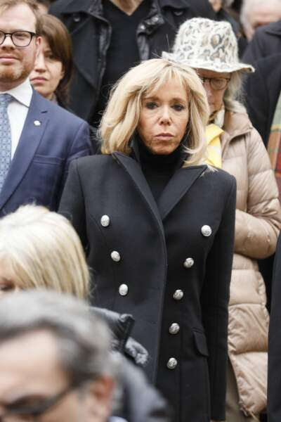 La Première Dame Brigitte Macron lors des obsèques de Michel Legrand à la cathédrale orthodoxe