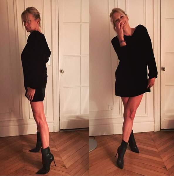 La petite robe noire et les boots à talons, idéales pour sublimer ses longues jambes