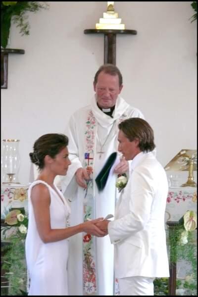Alessandra Sublet et Thomas Volpi lors de leur mariage religieux en avril 2008