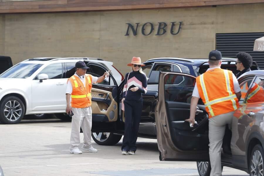 Laeticia Hallyday, à son arrivée au restaurant Nobu de Malibu, le 9 février 2019