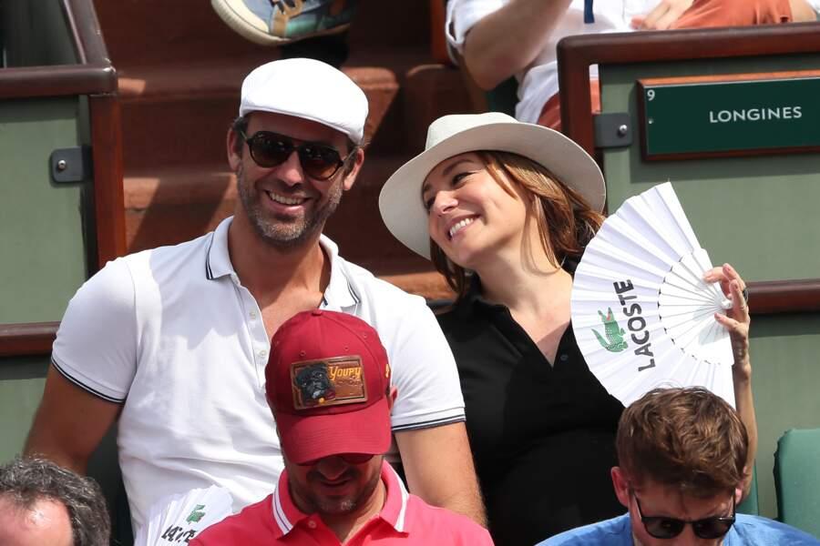 Shirley Bousquet (enceinte) et son compagnon Charles Watine à Roland Garros le 3 juin 2018