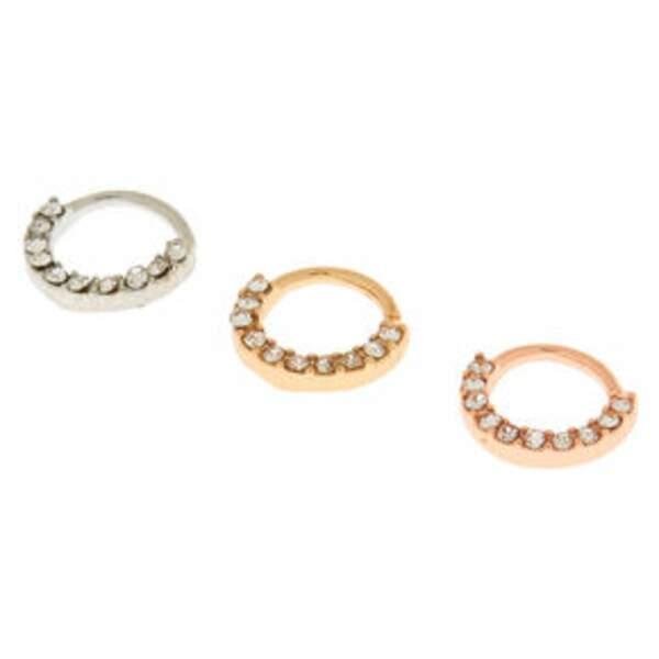 Lot de trois paires de boucles d'oreilles, 12,99 € soldé 7,79 €, Claire's.