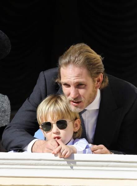 Andréa Casiraghi et son fils Sacha Casiraghi en novembre 2017