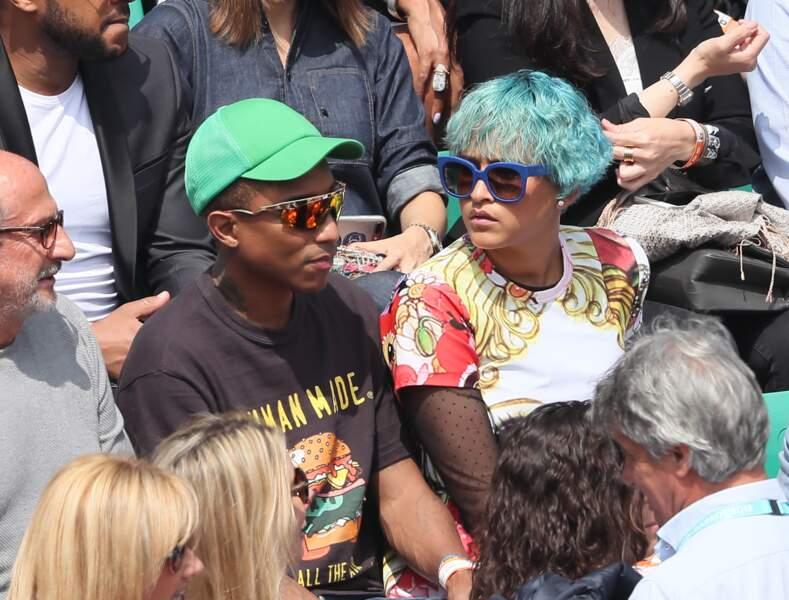 Pharrell Williams et sa femme ne perdent pas une miette du match