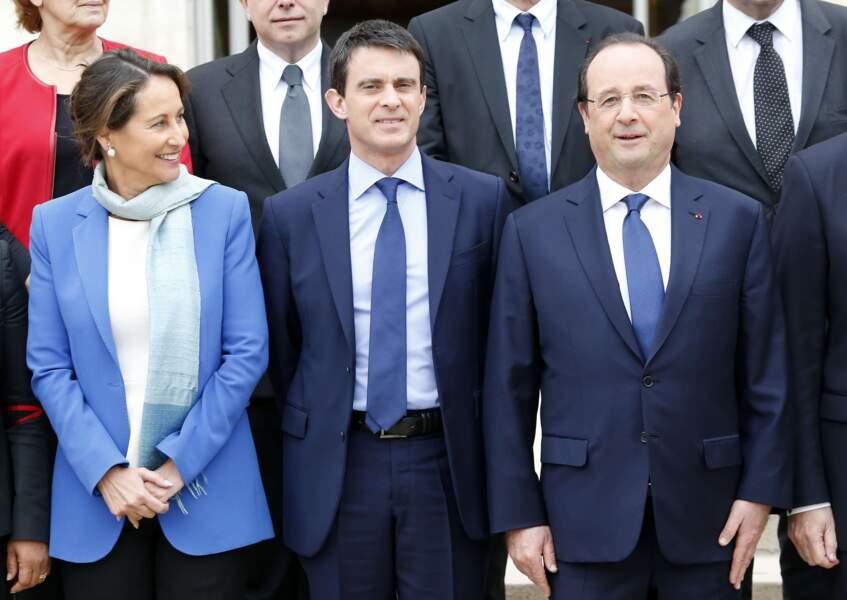 Ségolène Royal, Manuel Valls et François Hollande lors du congrès des ministres le 4 avril 2014