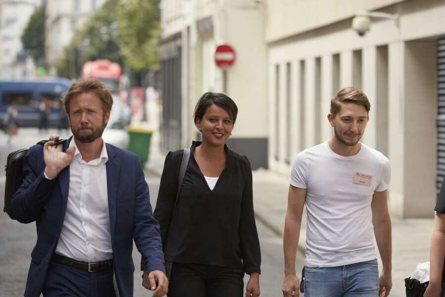 Najat Vallaud-Belkacem son mari Boris Vallaud arrivent au siège du PS