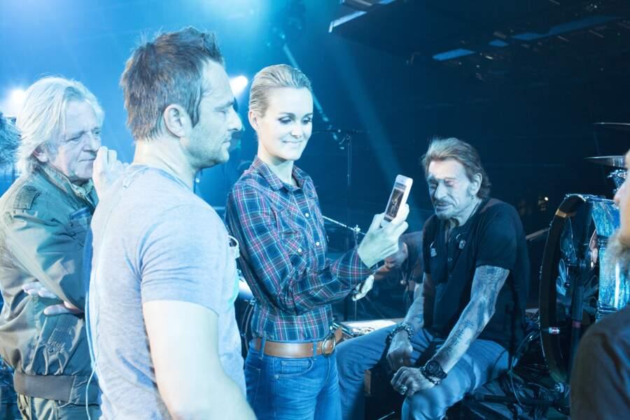 Bernard Schmitt, David et Laeticia Hallyday avec Johnny lors des répétitions du concert à Bercy le 14 juin 2013