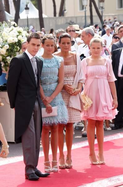 Stéphanie de Monaco et ses enfants au mariage d'Albert et Charlene de Monaco, en 2011
