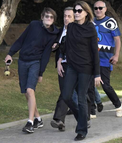 Nicolas Sarkozy, Carla Bruni-Sarkozy et son fils Aurélien, qu'elle a eu avec le philosophe Raphaël Enthoven
