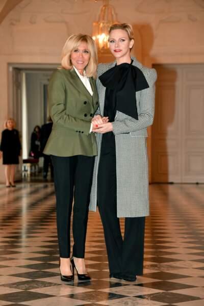 Brigitte Macron et Charlene de Monaco à Versailles le 11 novembre 2018