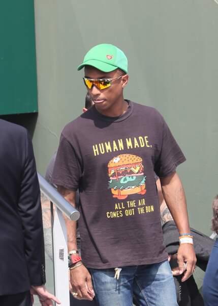 Pharrell Williams dans les tribunes de Rolland-Garros