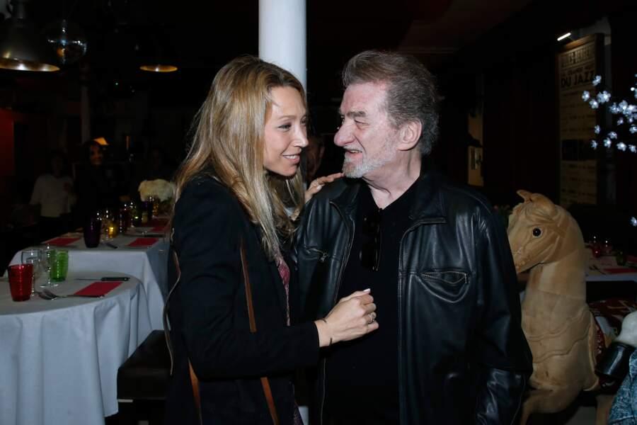 Laura Smet et son parrain Eddy Mitchell, lors du diner en l'honneur de Nathalie Baye aux Puces de St Ouen, en 2018