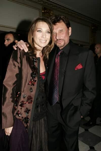 Laura Smet et Johnny Hallyday en 2005 à Paris, pour le Sidaction