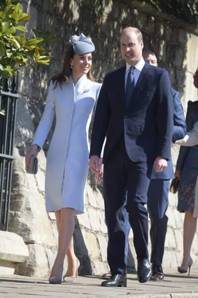 Le prince William et Kate Middleton, arrivant à la chapelle St George pour la messe de Pâques, le 21 avril 2019
