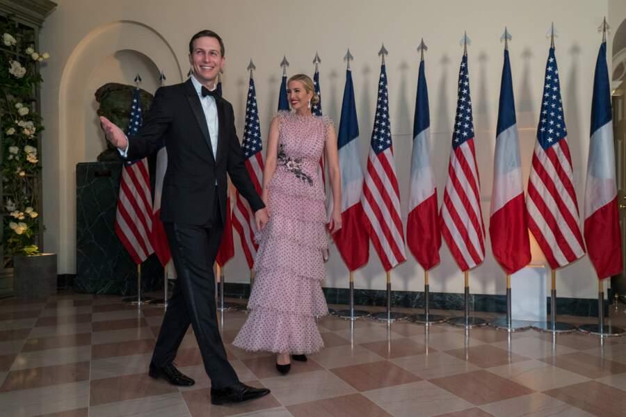 Jared Kushner et Ivanka Trump, en robe Rodarte, pour le dîner d'Etat en l'honneur du couple Macron