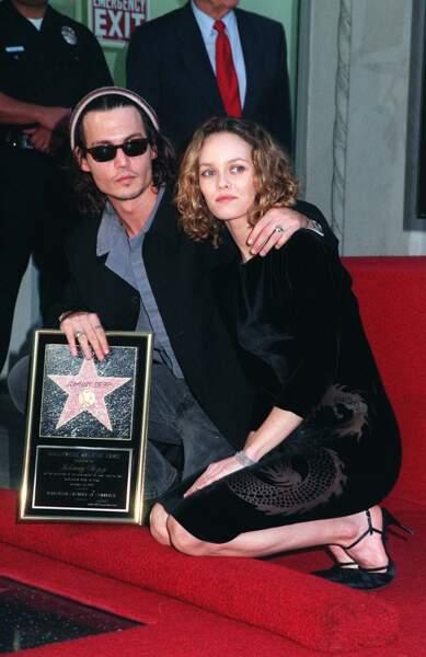 Johnny Depp et Vanessa Paradis sur le Walk of Fame à Los Angeles (1999)