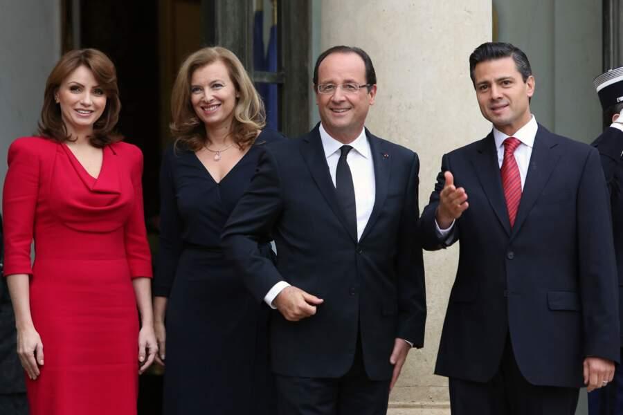 François Hollande avec Valérie Trierweiler, le président mexicain Enrique Pena Nieto et son épouse