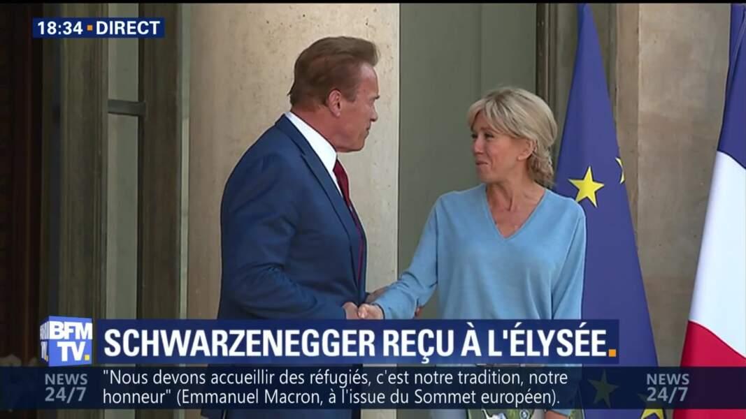 La Première Dame Brigitte Macron et Arnold Schwarzenegger à l'Elysée