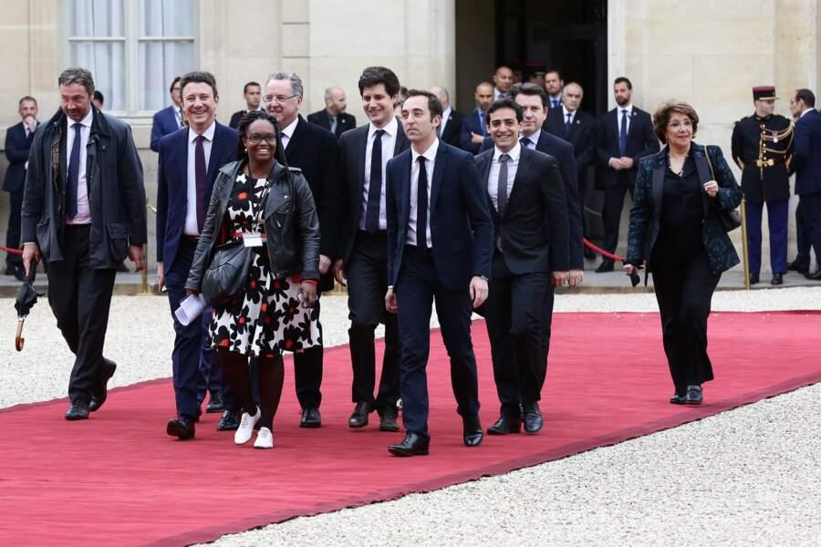 Sibeth Ndiaye encore coiffée de tresses pour l'investiture d'Emmanuel Macron, dont elle fut un soutien, en mai 2017