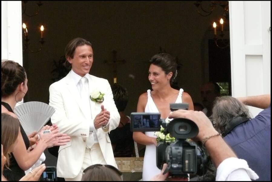Alessandra Sublet et Thomas Volpi à la sortie de l'église anglicane de Saint-Barth