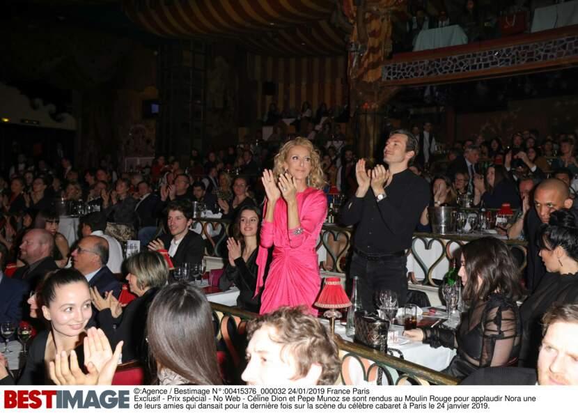 Céline Dion et Pepe Munoz se sont rendus au Moulin Rouge pour applaudir leur amie Nora, danseuse du célèbre cabaret