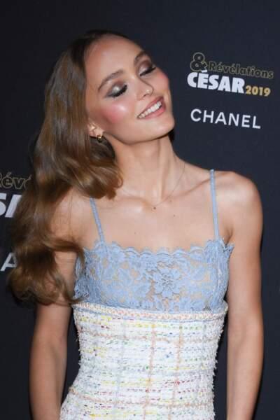 Lily-Rose Depp au dîner des Révélations des Césars, au Petit Palais, le 14 janvier 2019