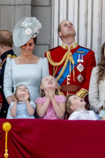 La princesse Charlotte, Savannah Phillips et le prince George durant la parade Trooping the colour le 9 juin 2018