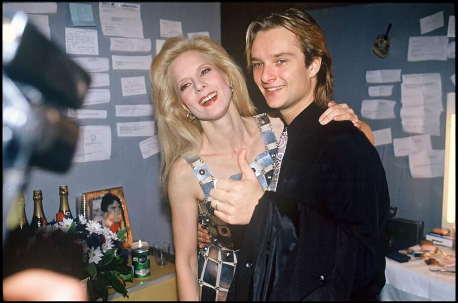 David Hallyday et Sylvie Vartan dans sa loge au Palais des Sports en 1991