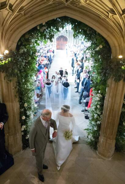 Meghan Markle accompagnée par le prince Charles le 19 mai 2018
