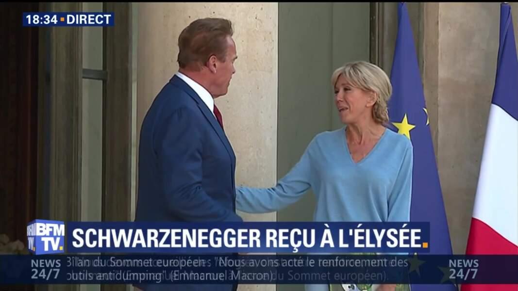 Brigitte Macron et Arnold Schwarzenegger à l'Elysée