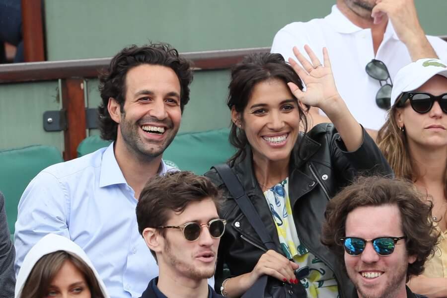 Laurie Cholewa et son fiancé Greg Levy à Roland Garros le 1er juin 2018