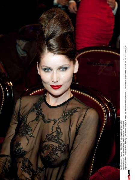 2010 Laetitia Casta créée l'événement aux Césars avec cette robe très fine