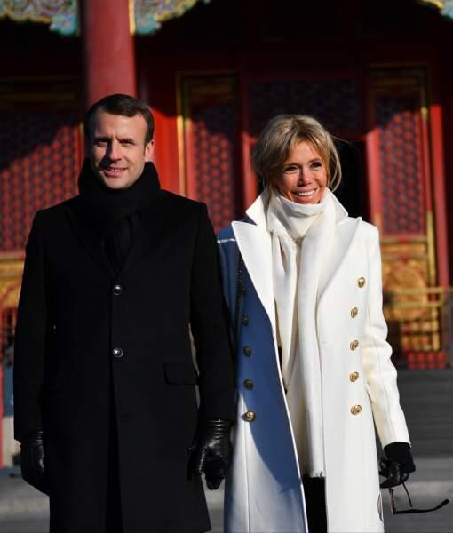 Le Président de la République et sa femme, lors de la visite d'Etat de trois jours en Chine, le 9 janvier 2018