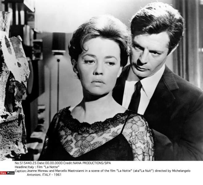 Jeanne Moreau a su séduire Marcello Mastroianni dans La Notte de Michelangelo Antonioni