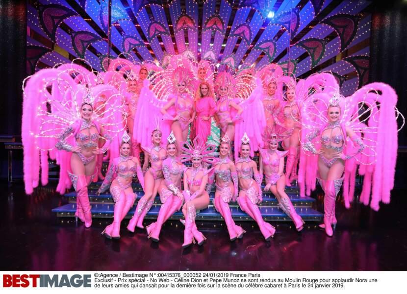 Céline Dion avec les girls du Moulin Rouge, le 24 janvier 2019