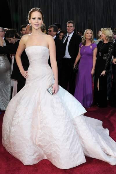 Jennifer Lawrence, en Christian Dior aux Oscars 2013