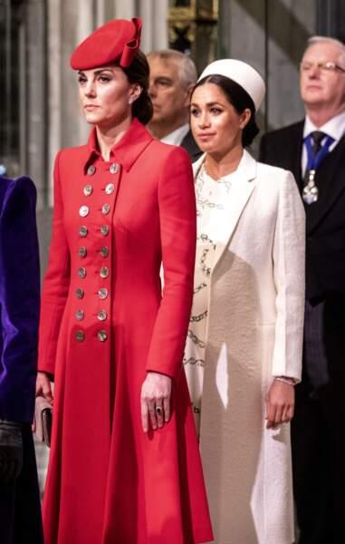 Meghan et Kate, très chic, à l'Abbaye de Westminster pour une sortie officielle, à Londres, le 11 mars 2019.