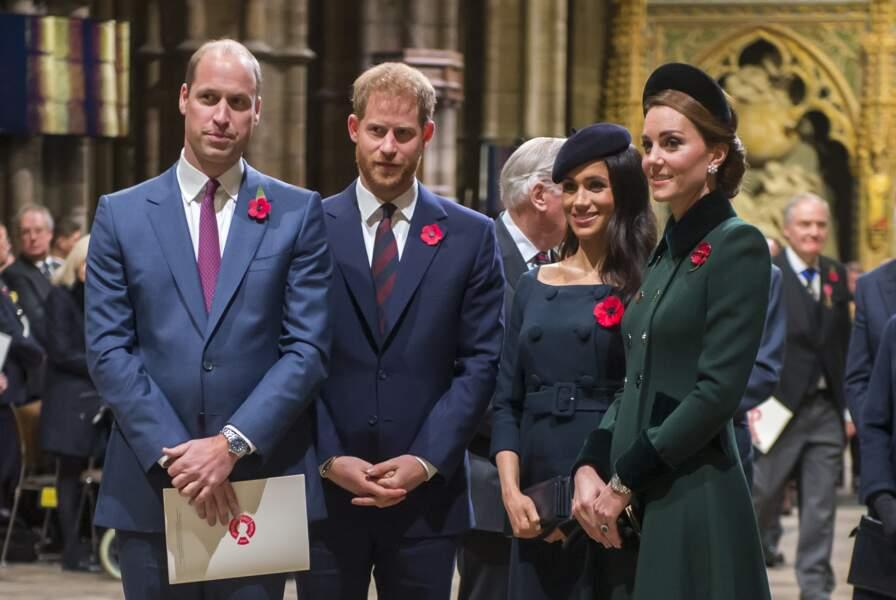 Le prince William, le prince Harry, Kate Middleton et Meghan Markle ensemble lors du service commémoratif pour le centenaire de la fin de la 1er Guerre Mondiale, le 11 novembre 2018.