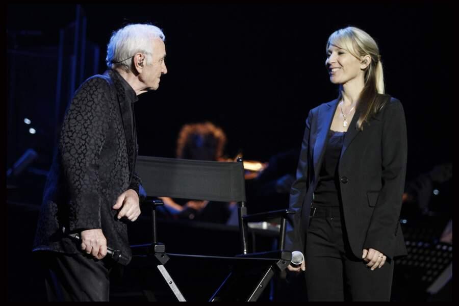 Charles Aznavour avec sa fille Katia, à l'Olympia, en 2011.