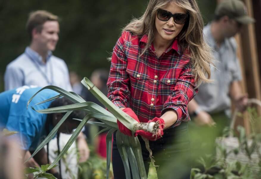 22 septembre 2017: casual mais chic en chemise Balmain pour bêcher le potager de la Maison-Blanche