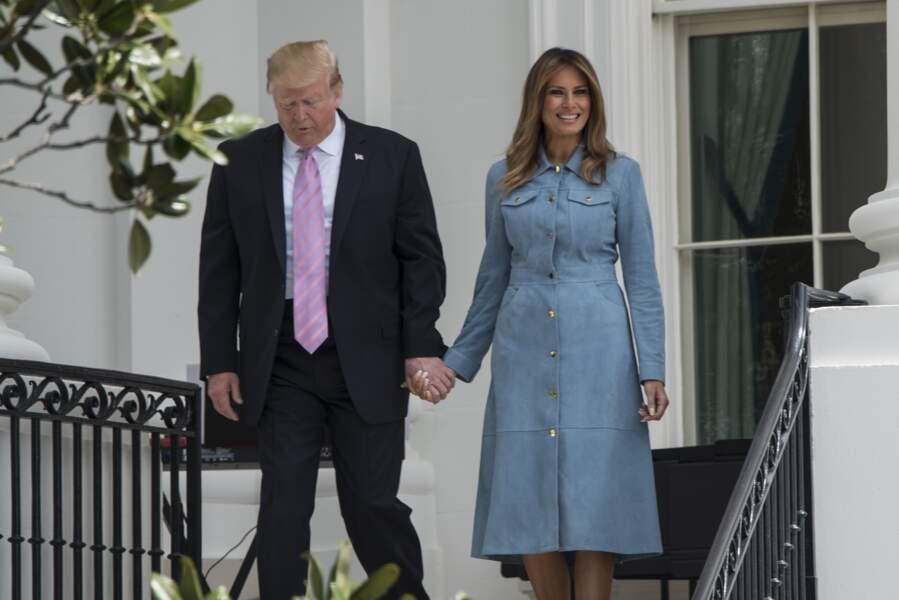 Donald Trump et Melania Trump lors de la chasse annuelle d'oeuf de Pâques à Washington le 22 avril 2019