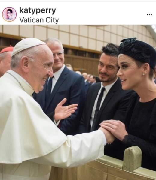 Katy Perry et Orlando Bloom rencontrent le pape François