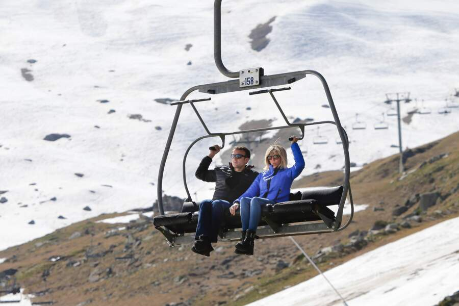 Les Macron font du ski, dans la station où Emmanuel Macron a appris à skier (12 avril 2017).
